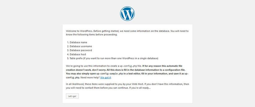 Wordpress Installation Step - Database Information